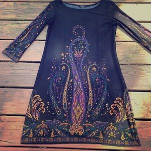 Forever Black Dress With paisley floral detail.